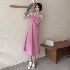 YF61972# 夏季韩版温柔风裙子宽松显瘦中长款法式吊带连衣裙 服装批发女装直播货源