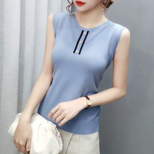 YF61973# t恤女夏季薄款无袖针织背心女外穿打底衫内搭上衣 服装批发女装直播货源