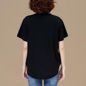 YF61975# 加大码中长款宽松夏季短袖休闲t恤百搭女上衣 服装批发女装直播货源