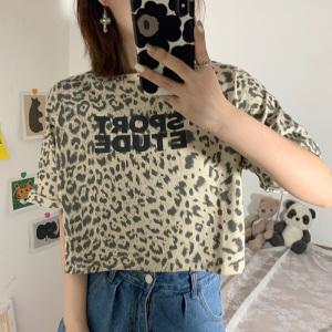 YF61978# 夏装新款港味小众洋气豹纹字母印花短袖T恤女上衣 服装批发女装直播货源