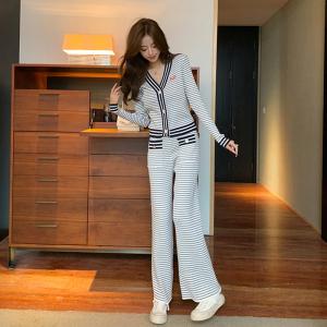 YF62263# 明星迪丽热巴同款条纹套装女针织开衫休闲阔腿裤两件套 服装批发女装直播货源