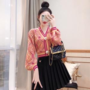 YF62594# 复古温柔风外套女装新款潮秋装粉色针织上衣开衫短款毛衣 服装批发女装直播货源