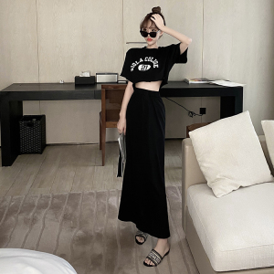 CX6999# 最便宜服服装批发 短款字母印花t恤+高腰显瘦中长裙夏季新款港风炸街气质两件套