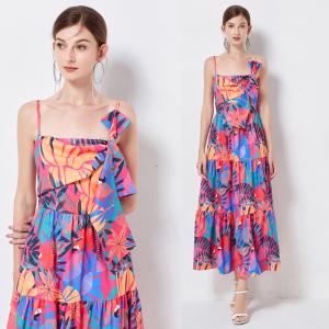 YF62900# 小众设计师品牌度假风明星同款蝴蝶结吊带连衣裙女ins风 服装批发女装直播货源