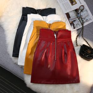 YF65180# 设计感小众黑色半身裙女新款高腰绑带pu皮小黑裙拉链a字短裙 服装批发女装直播货源