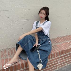 YF62671# 大码女装新款韩版宽松减龄显瘦背带蓬蓬裙牛仔连衣裙女 服装批发女装直播货源