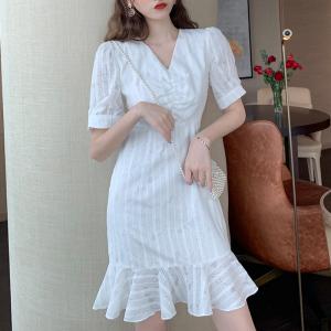 YF64219# 小个子新款收腰显瘦荷叶边气质连衣裙短袖V领洋气 服装批发女装直播货源