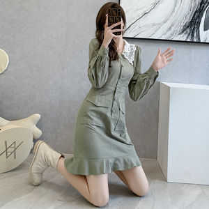 YF65172# 韩版小个子穿搭连衣裙女秋装新品气质甜美修身长袖A字短款裙 服装批发女装直播货源