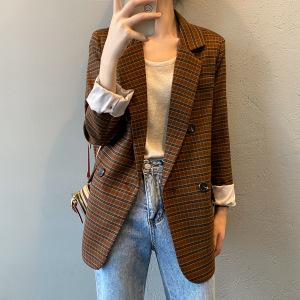 YF62692# 格子西装女秋季新款复古英伦风气质休闲西服小外套 服装批发女装直播货源
