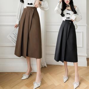 YF62826# 不规则中长款半身裙秋季新款一片式高腰一步裙 服装批发女装直播货源