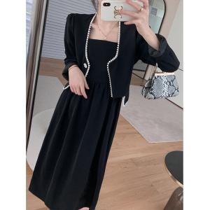 YF63107# MUKOK新款套装黑色外套修身显瘦性感连衣裙两件套