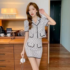 YF63062# 网红炸街减龄时尚夏季套装女小香风白色上衣包臀裙两件套