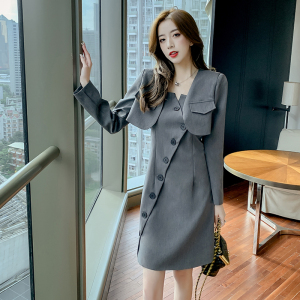 YF63064# 女装潮流新款净色显瘦不规则网红收身吊带裙+短款小西装套装
