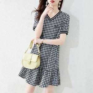 YF63135# 黑白格子连衣裙女夏小个子新款收腰显瘦气质别致裙子 服装批发女装直播货源