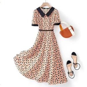 YF63136# 夏季新款气质高端显瘦洋气裙子收腰几何色块连衣裙女 服装批发女装直播货源