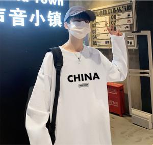 CX6559# 最便宜服装批发 男士秋季圆领长袖T恤男士纯棉潮流衣服男打底衫
