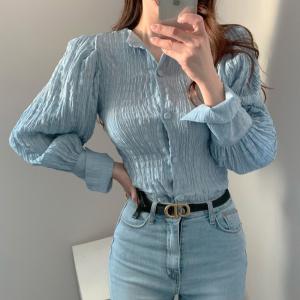 YF66142# 秋季chic褶皱感显瘦灯笼袖衬衫上衣 服装批发女装直播货源