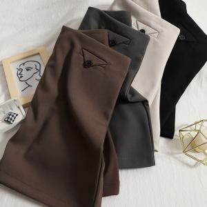 YF63280# 韩版不规则裙女秋装新款纯色高腰包臀裙显瘦百搭半身裙气质A字裙 服装批发女装直播货源
