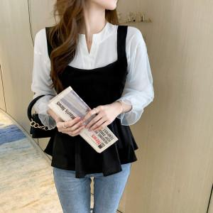 YF63293# 衬衣女秋季新款两件套韩版设计感小众百搭上衣 服装批发女装直播货源