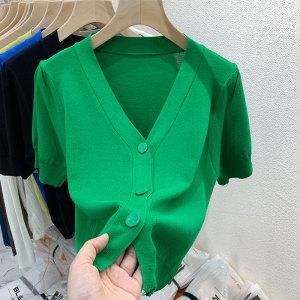 YF66065# 毛针织开衫女短袖新款泡泡袖v领冰丝高腰短款上衣ins潮 服装批发女装直播货源