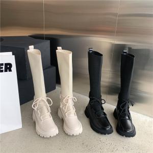 X-26100# 马丁靴薄款女新款靴子厚底秋冬单靴黑色长靴高靴飞织绑带 鞋子批发女鞋直播货源