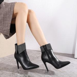 X-26195# 秋冬新款尖头高跟鞋细跟马丁靴短靴女性感水钻夜店百搭 鞋子批发女鞋直播货源