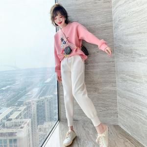 YF66990# 小牛印花亮片粉色减龄宽松卫衣+休闲束脚裤套装女 服装批发女装直播货源