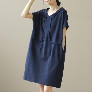 YF65099# 夏季新款抽绳连帽中长款休闲连衣裙大码女装 服装批发女装直播货源