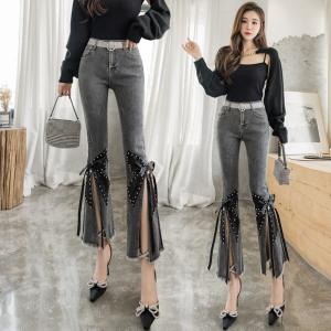 YF64673# 烟灰色牛仔裤女新款高腰百搭修身显瘦显高九分喇叭裤 服装批发女装直播货源