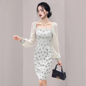 YF65639# 新款女装方领印花气质包臀连衣裙 服装批发女装直播货源