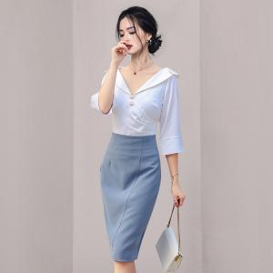 YF65641# 白色缎面上衣+包臀半身裙套装 服装批发女装直播货源