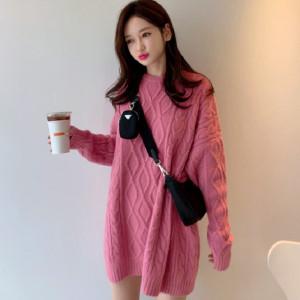 YF68122# 韩国东大门新款减龄粉色短裙毛衣针织连衣裙 服装批发女装直播货源