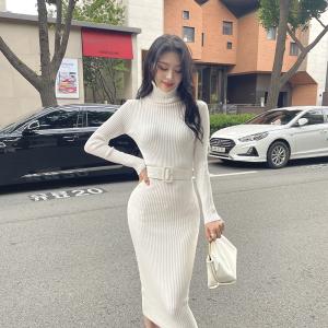 YF66830# 韩模秋冬新款内搭修身系腰带中长款过膝针织打底包臀连衣裙