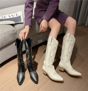 X-26092# 新女靴秋冬刺绣单靴马丁靴马蹄跟尖头粗跟高筒靴长靴显瘦 鞋子批发女鞋直播货源