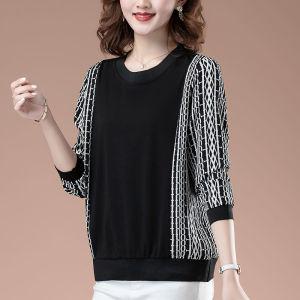 YF71057# 胖mm显瘦上衣洋气减龄高级大码女装新款秋季t恤打底衫 服装批发女装直播货源