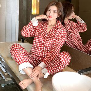YF65080# 时尚新款秋冬季仿真丝冰丝睡衣女家居服套装仿真丝 服装批发女装直播货源