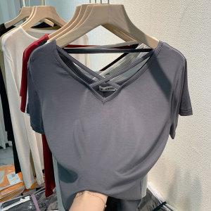 YF66070# 短袖t恤女夏季新款洋气性感锁骨v领上衣白色半袖体恤 服装批发女装直播货源