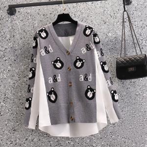 YF65433# 大码女装秋季胖妹妹宽松显瘦长袖薄款外套撞色拼接上衣女 服装批发女装直播货源