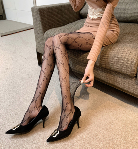 CX6239# 最便宜服装批发 字母黑丝袜女网红JK连裤袜子渔网袜
