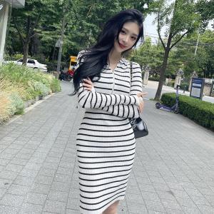 YF66823# 韩模韩版时尚简约连帽拉链修身长袖条纹针织包臀连衣裙
