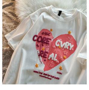 CX6450# 最便宜服装批发 国潮爱心立体字母短袖T恤ins潮设计感女生上衣潮流情侣打底衫