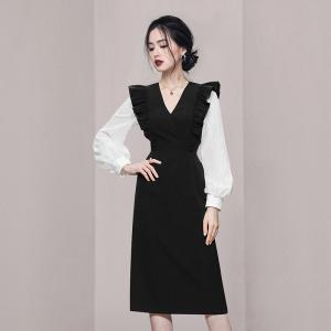 YF65649# 秋装新款法式优雅V领灯笼袖包臀连衣裙 服装批发女装直播货源