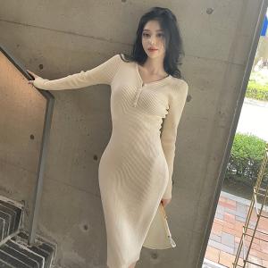 YF66824# 韩模纯色百搭气质显瘦V领性感针织裙中长款早秋季连衣裙女