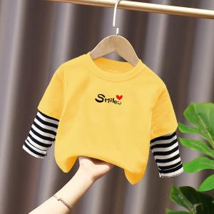 CX6816# 最便宜服装批发 童装男女童高领儿童打底衫字母印花T恤宝宝长袖中性上衣