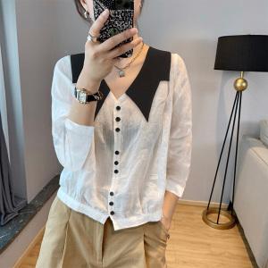 YF66106# 设计感白色娃娃领衬衫长袖女秋季新款欧洲站简约白色上衣 服装批发女装直播货源