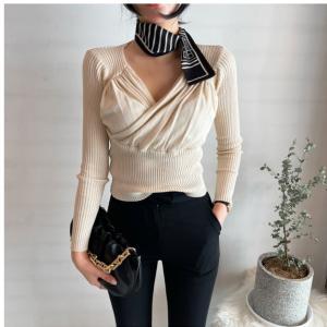 YF71195# 韩国chic褶皱修身V领针织衫