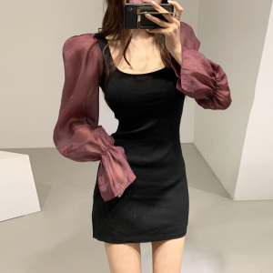 YF71196# 韩国chic拼接网纱泡泡袖A字连衣裙