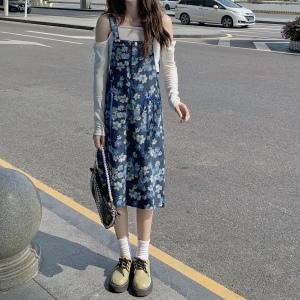 YF70057# 大码碎花牛仔背带裙新款胖mm宽松百搭减龄印花吊带连衣裙 服装批发女装直播货源