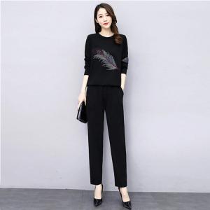 YF67360# 黑色休闲运动套装女新款秋装洋气减龄显瘦时尚两件套裤子潮 服装批发女装直播货源