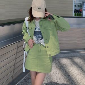 YF70059# 大码高街牛仔套装裙秋新款胖mm炸街夹克外套a字半身裙两件套 服装批发女装直播货源